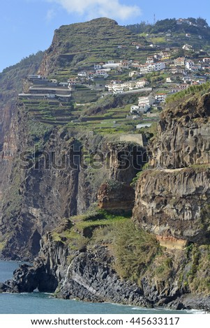 View to Cabo Girao and Camara de Lobos from cliff top walkway. Madeira, Portugal