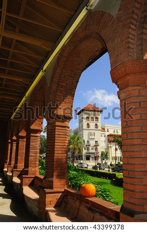 View to Casa Monica from Flagler College in St Augustine - stock photo