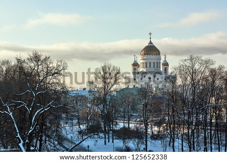 view to Cathedral of Christ the Saviou from The Troitskaya Tower of the Moscow Kremlin,