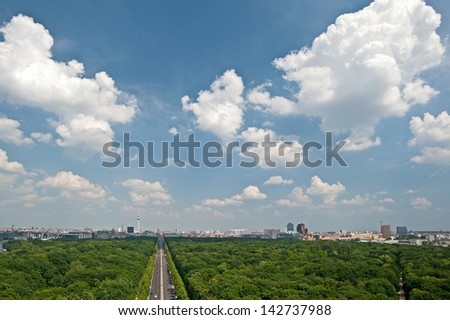 View to central Berlin. - stock photo