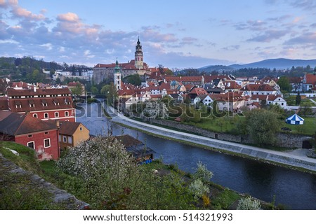 View to church and castle in Cesky Krumlov, Czech republic