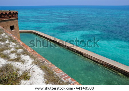 View to Coral Reef from the Top of Fort Jefferson on Dry Tortugas National Park