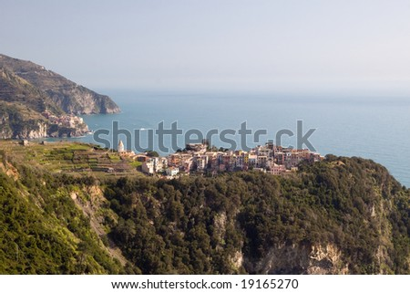 View to Corniglia - one of the villages in Cinque Terre (Italy)