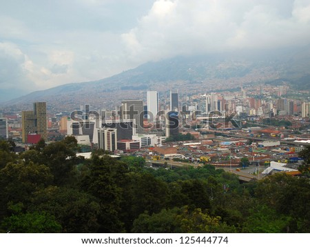View to downtown Medellin from Pueblito Paisa, Colombia. - stock photo