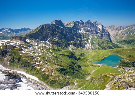View to Engelberg with Eugenisee lake under the Mt. Titlis, Switzerland - stock photo
