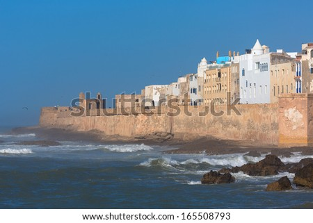 View to Essaouira which is a touristic and windy city in the western Moroccan region on the Atlantic coast.