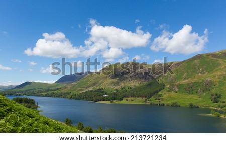 View to High Shockrigg fell Buttermere Lake District Cumbria England uk on a beautiful sunny summer day surrounded by fells  - stock photo