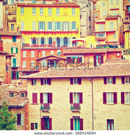 View to Historic Center City of Perugia in Italy, Instagram Effect - stock photo
