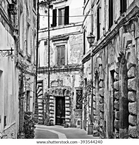 View to Historic Center City of Sorano in Italy, Vintage Style Toned Picture