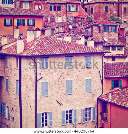 View to Historic Center of the City of Perugia in Italy, Retro Effect - stock photo