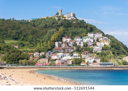 View to Igeldo, a quarter of San Sebastian. It is a small town located at the hillside of the same name towering over the west side of the Bay of La Concha one of the famous urban beaches in Europe