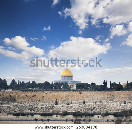 View to Jerusalem old city. Israel  - stock photo