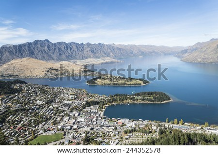 View to lake Wakatipu and Queenstown, Otago , South Island New Z - stock photo