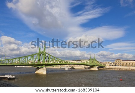 View to Liberty Bridge (Szabadsag hid) over Danube river in Budapest, Hungary - stock photo