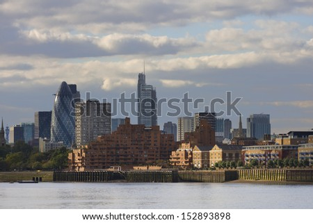 View to London skyscrapers