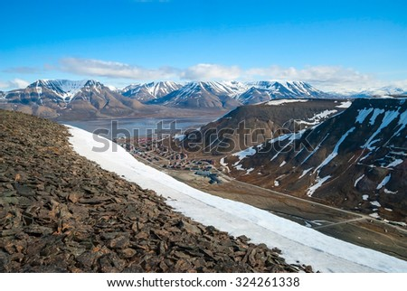 View to Longyearbyen from the hills above, Svalbard, Norway - stock photo