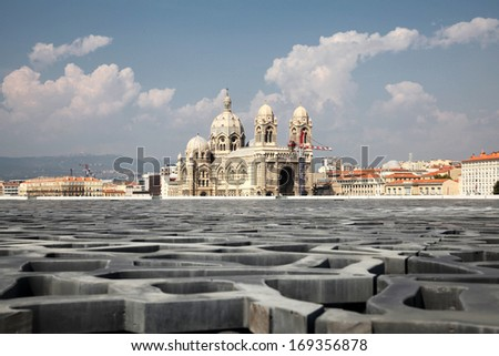 View to Marseilles Cathedral (Cath�©drale Sainte-Marie-Majeure de Marseille) in France - stock photo