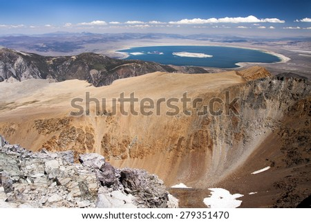 View to Mono Lake in California from Mt. Donna in Yosemite National PArk - stock photo