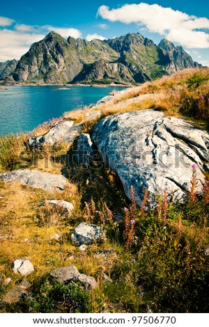 View to mountains in Norway, Lofoten, Henningsvaer - stock photo