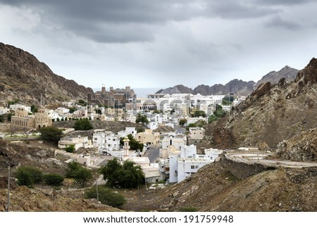 View to Muscat in Oman on a cloudy day - stock photo