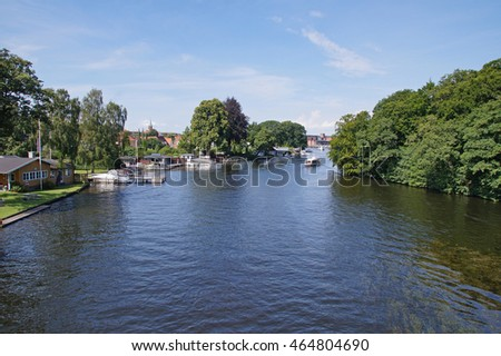 View to on of Silkeborg lakes on a sunny day during sommertime