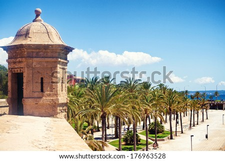 View to quay of Palma de Mallorca, Spain - stock photo