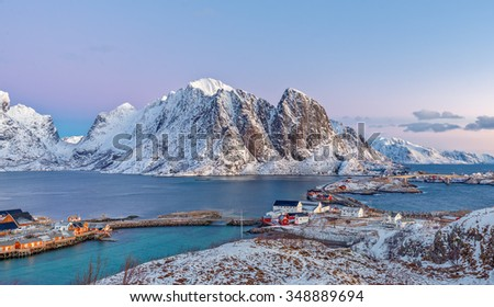 View to Reinefjorden with mountains on background at sunrise - Reine, Lofoten Islands, Norway