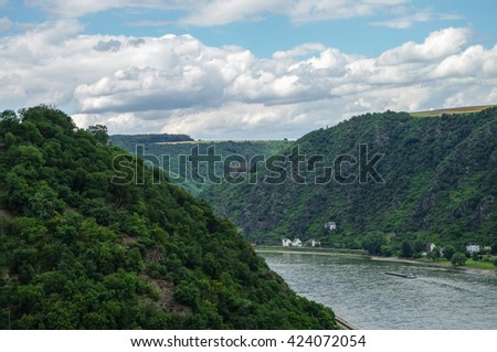 View to Rhine and Burg Maus Castle, St. Goarshausen, Rhineland-Palatinate, Germany - stock photo