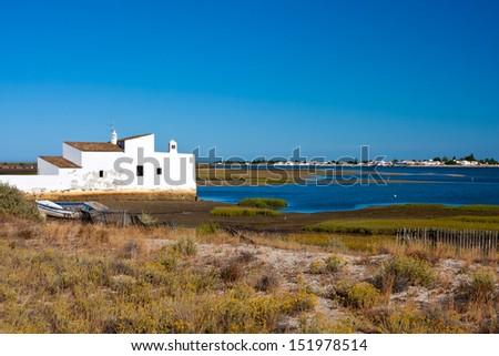 View to Ria Formosa Natural Park, Algarve, Portugal  - stock photo
