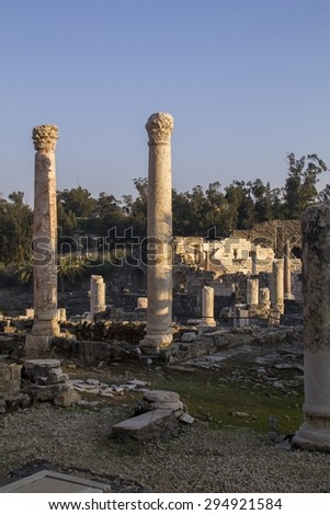 View to rich archeological site in Beit Shean (Scythopolis), Israel. - stock photo