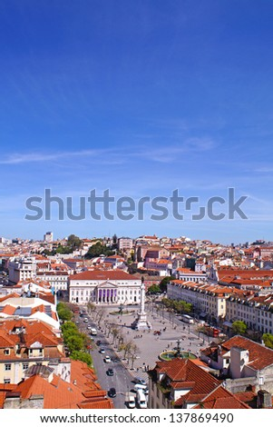 View to Rossio Square on a sunny day in the center of Lisbon, in Portugal and has been one of the main squares since the Middle Ages - stock photo
