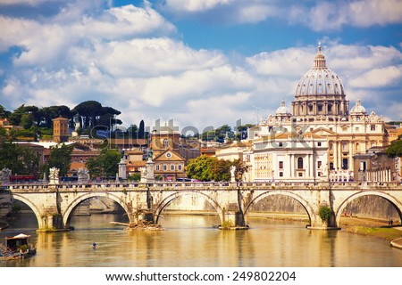 View to Saint Peter cathedral, Rome, Italy - stock photo
