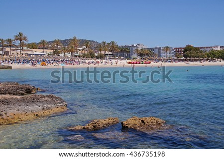 View to Santa Ponsa beach with crystal clear blue water