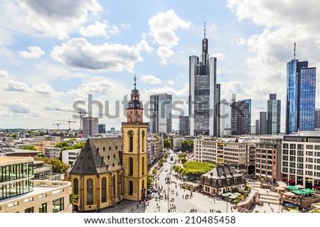 view to skyline of Frankfurt with Hauptwache  in Frankfurt - stock photo