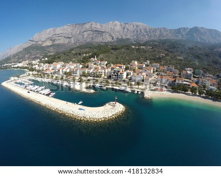 View to small town Tucepi on Adriatic sea - stock photo