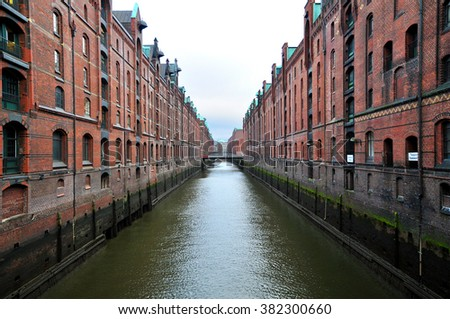 View to Speicherstadt neighbourhood in Hamburg, Germany