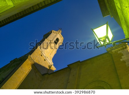 view to street light and tower in twilight time  in Tuscany city in Italy - stock photo