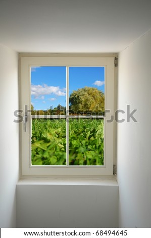 view to summer nature concept with window and copyspace