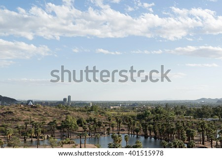 view to Tempe, Arizona, USA from Papago Park, USA - stock photo