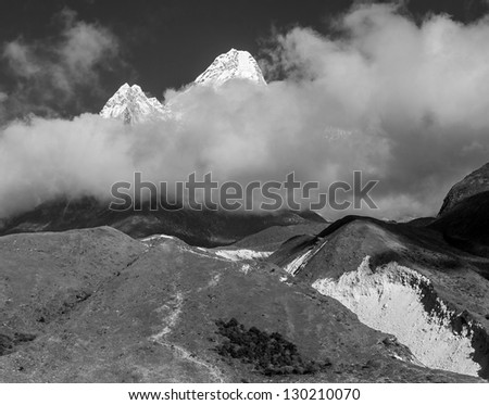 View to the Ama Dablam (6814 m) from the Orsho - Everest region, Nepal, Himalayas (black and white)