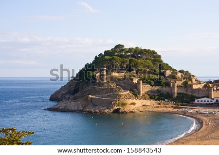 View to the beach and medieval castle in Tossa de Mar, Catalonia, Spain, Costa Brava