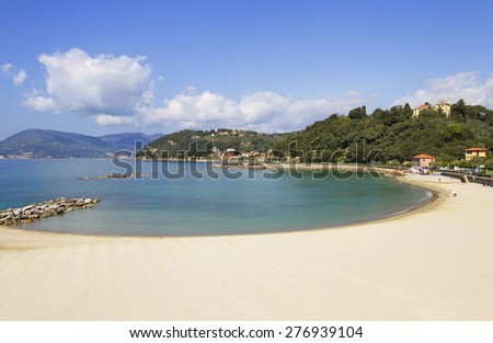 View to the beach in the Lerici, Italy. - stock photo