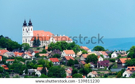 View to the benedictine abbey in Tihany, Hungary - stock photo