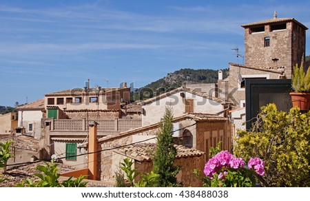 View to the center of the beautiful village of Estellencs on Mallorca.