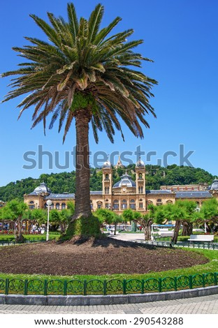 View to the city hall in San Sebastian or Donostia. - stock photo
