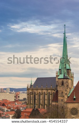 view to the Dome of Erfurt in Thuringia, Germany