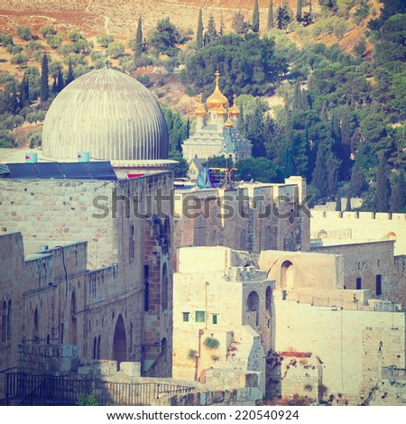 View to the East Jerusalem from the Walls of the Old City, Instagram Effect  - stock photo
