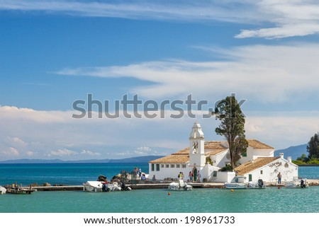 View to the famous touristic landmark Monastery of Panagia Vlahernon under clouds, Kerkyra, Corfu, Greece
