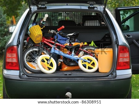 View to the full loaded car. - stock photo