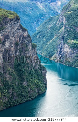 View to the Geirangerfjord in Norway.